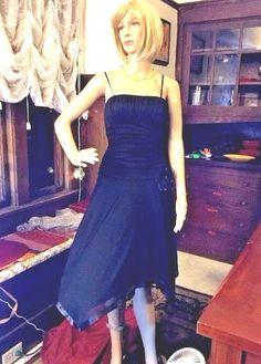 $6.50  City Triangles Sz M Black Formal Sheer Lined Spaghetti Strap Evening Dress $74 #CityTriangles #AsymmetricalHemEmpireWaist #Formal