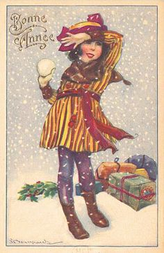 Vintage Bompard Holiday Postcard