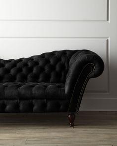 Black Leather Recamier Sofa - Neiman Marcus #beauty #edgy |blackwell008