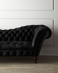 Black Leather Recamier Sofa - Neiman Marcus #beauty #edgy |blackwell008