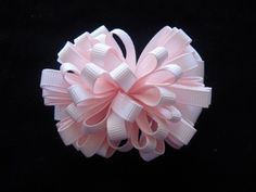 Boutique hair bow pink and white hair clip very full of loops   | bowsandbling2 - Children's on ArtFire