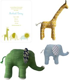 Anna Bella Baby fine stationery :: girafe and elephant toys by Wren handmade