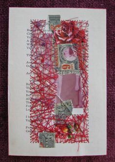 Collage art, stitched.