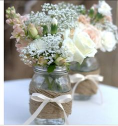Simple but delicate jam jar flowers