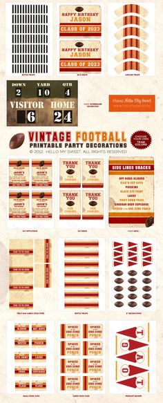 Football Party - Sports Party - Vintage - Printable Birthday Party Decorations - Pick Your Own Team Colors