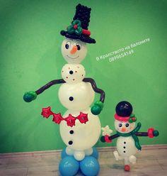 Christmas Balloons, Snowman, Disney Characters, Sculptures, Globes, Snowmen