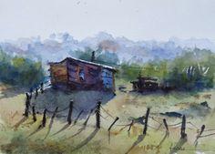 Fernando+Pena+-+Acuarelas+-+Watercolors:+Rancho+en+un+balneario Watercolor Artists, Watercolor Landscape, Watercolor And Ink, Watercolour Painting, Watercolours, Art Tutorials, Art Lessons, Illustration Art, Lighthouses