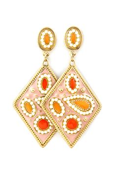Paisley Domina Earrings in Corals