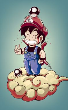 Mario-Goku Illustration made for (cartoon, cartoon) and also a tribute to these two creations that gave so much happiness to my childhood. (Dragon ball and Nintendo) Super Mario Kunst, Super Mario Art, Dragon Ball Z Shirt, Dragon Ball Gt, Cartoon Cartoon, Fanart, Potpourri, D Mark, Geek Art