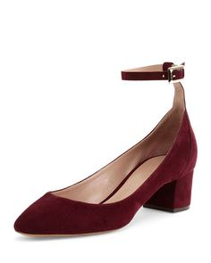 Suede Ankle-Wrap Ballerina Pump, Bordeaux by Chloe at Neiman Marcus.