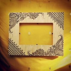 4x6 inch Wood Henna Mehndi Frame with arabic vine by NewWorldHenna, $30.00