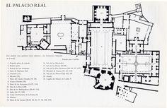 Plano de los palacios de Alhambra (Granada, siglos XIII-XV). Sólo quedan 2 palacios nazaríes completos de los 5 que existían. Las numerosas modificaciones sufridas han desvirtuado sus funciones esenciales y los importantes protocolos de acceso que se utilizaban con el objeto de sorprender y apabullar.