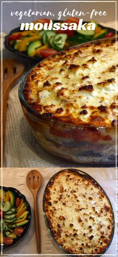 Layers of grilled aubergine, tomato sauce, & soft potato slices with a creamy, cheesy topping make this vegetarian, gluten-free moussaka a filling, rich & delicious dinner.