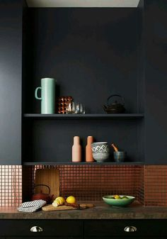Black Matte Walls | Copper Micro Tile Dado
