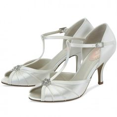 Perfume by Pink for Paradox London Ivory or White Dyeable Vintage T-Bar Wedding or Occasion Shoes