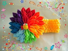 Радужная повязка канзаши/Rainbow headband/Tutorial - YouTube