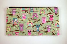 Green Owl Zipper Pouch Pencil Pouch Make Up Bag Gadget Bag