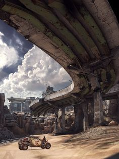"""The Company Car"" Video game ""Rage"" id Software, Bethesda Softworks. Post Apocalypse, Apocalypse World, Sci Fi Fantasy, Fantasy World, Apocalypse Landscape, Arte Zombie, Id Software, Post Apocalyptic Art, Futuristic Art"