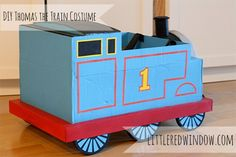 Tutorial for an adorable DIY Thomas the Train Costume made from a cardboard box from Little Red Window! This easy tutorial includes step by step instructions to help you make your own Thomas the Train Costume! Christmas Shoebox, Christmas Diy, Thomas The Train Costume, Thomas Train, Disney Cars Party, Car Party, Space Crafts For Kids, Train Crafts, Party Themes For Boys