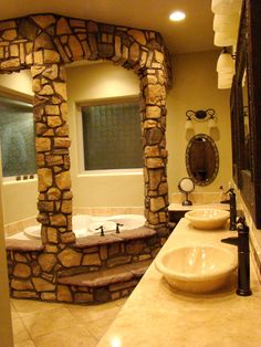 I never would have thought of putting stone in the bathroom... It would look great around a shower!