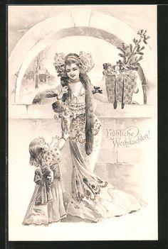 cartolina antiche: AK Fröhliche Weihnachten! Mädchen in festlichen Kleidern