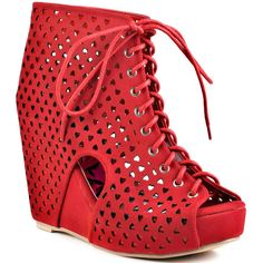 Iron Fist Queen Of Hearts Wedge - Red found on Polyvore