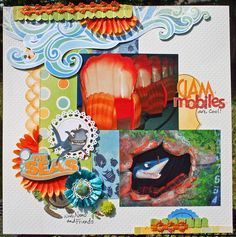 """Clam Mobiles"" Disney scrapbook page by Susan Stringfellow."
