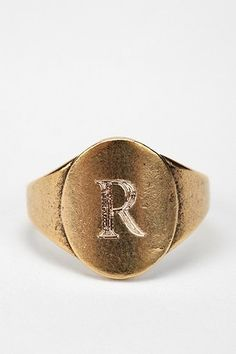 Urban Outfitters  Signet Initial Ring - R - One Size $20.00