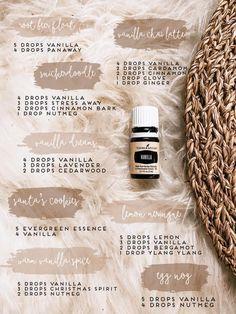 Essential Oils Guide, Young Living Essential Oils, Essential Oils For Stress, Essential Oil Combinations, Vanilla Essential Oil, Diffuser Recipes, Essential Oil Diffuser Blends, Aromatherapy Oils, Yl Oils