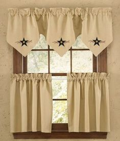 Country Primitive decorating favorite, this Star Vine Lined Triple Point Curtain Valance measures 60 x 20 from Park Designs (shown top). Star Vine Tiers, sold s Primitive Homes, Primitive Kitchen, Country Primitive, Primitive Decor, Primitive Curtains, Ruffle Curtains, Valance Curtains, Valances, Camper Curtains