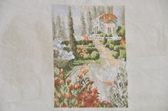 Finished completed Cross stitch Awesome  gnome picnic party in the Garden completed cross stitch crossstitch