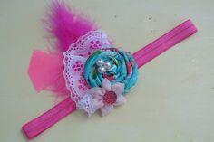 Pink and blue headband, pink headband, flower headband, feather headband, baby girl headband, toddler headband by ThreeHeartsBowtique on Etsy