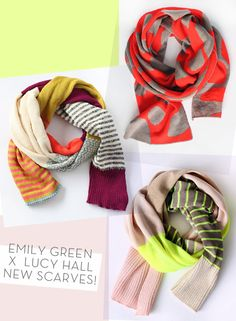 Emily Green + Lucy Hall scarves avail June 21 http://www.etsy.com/shop/MadeByEmilyGreen?page=3