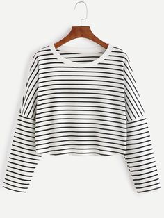 Shop Contrast Striped Drop Shoulder Crop T-shirt online. SheIn offers Contrast Striped Drop Shoulder Crop T-shirt & more to fit your fashionable needs.