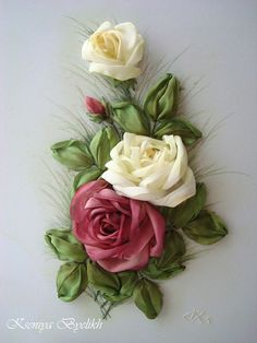 Wonderful Ribbon Embroidery Flowers by Hand Ideas. Enchanting Ribbon Embroidery Flowers by Hand Ideas. Ribbon Embroidery Tutorial, Silk Ribbon Embroidery, Embroidery Patterns, Embroidery Thread, Embroidery Blanks, Ribbon Art, Ribbon Crafts, Ribbon Flower, Silk Flowers