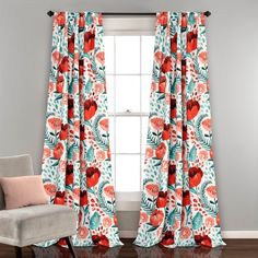 Bungalow Rose Bryonhall Poppy Garden Floral Room Darkening Thermal Rod Pocket Curtain Panels Size per Panel: W x L, Curtain Color: Multi Room Darkening Curtains, Blackout Curtains, Drapes Curtains, Bedroom Curtains, White Curtains, Blush Curtains, Bedroom Divider, Orange Curtains, Country Curtains