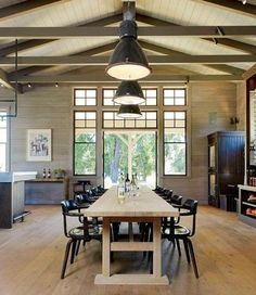 Absolutely lusting over these Northern California winery tasting room photographs via Remodelista . Exposed Beams, House Design, Wine Tasting Room, Home, Dining Table, Tasting Room, Industrial Dining Table, Modern Farmhouse, Winery Tasting Room