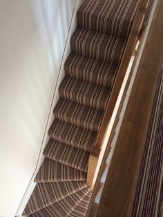 Striped carpet on winders. Striped Carpets, Small Spaces, New Homes, Stairs, Decor Ideas, Decorating, Home Decor, Decor, Stairway