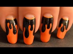 black and orange halloween nails Fabulous Nails, Perfect Nails, Nail Art Halloween, Halloween 2013, Cute Nails, My Nails, Fall Nail Art, Top Nail, Maquillage Halloween