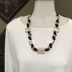 Chicos necklace Black & White beaded necklace Chico's Jewelry Necklaces