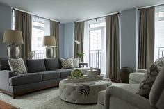 The Elegant Abode: Chic gray and blue living room with blue walls paint color and living room windows .love the wall color Living Room Color Schemes, Paint Colors For Living Room, Living Room Grey, Room Colors, Living Room Designs, Living Room Decor, Living Rooms, Family Rooms, Colour Schemes