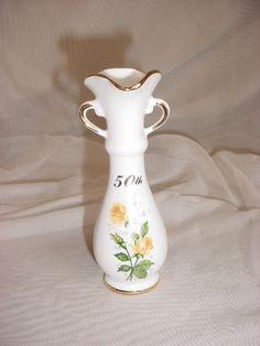 Vintage Flower Vase 50th Anniversary Royal Ann Fine China Gift Idea Yellow Rose