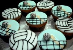 Volleyball Cupcakes, Volleyball Birthday Party, Cake Pops, My Birthday Cake, 12th Birthday, Sport Cakes, Gift Cake, Themed Cupcakes, Creative Cakes