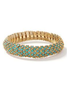 Colorful Stone Stretch Bracelet comes in blue red white and yellow  Banana Republic