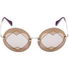 Miu Miu (€270) ❤ liked on Polyvore featuring accessories, eyewear, sunglasses, engraved glasses, heart sunglasses, round frame sunglasses, round frame glasses and miu miu eyewear