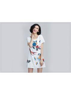 Youthful Owl Pattern Zip Up Short Sleeve White Dress