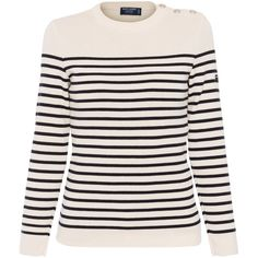 Saint James Maree Ecru And Navy Striped Wool Sweater ($240) ❤ liked on Polyvore featuring tops, sweaters, shirts, stripes, navy blue long sleeve shirt, striped sweater, striped shirt, breton stripe shirt and long sleeve shirts