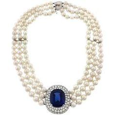 Mikimoto Tanzanite, Diamond and Pearl Choker Necklace in 18 Karat White Gold