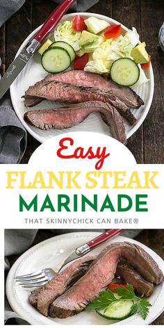 Easy Flank Steak Marinade with just 3 ingredients!!! So simple to make with kitchen staples, then tossed on the grill for an easy, family-friendly dinner recipe! Roast Recipes, Barbecue Recipes, Ground Beef Recipes, Pie Recipes, Sweet Recipes, Baking Recipes, Dessert Recipes, Savoury Dishes, Food Dishes