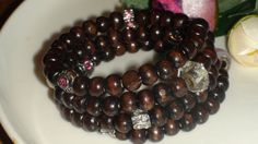 Memory Wire  Bracelet.Wooden bead bracelet.